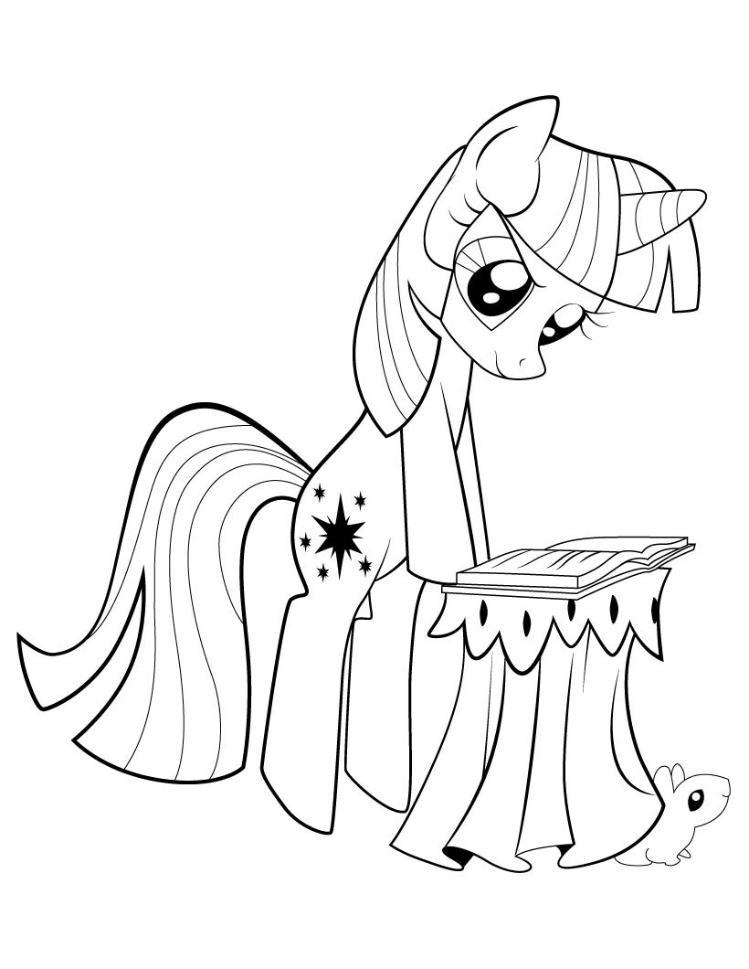 My Little Pony Twilight Sparkle Reading Coloring Page