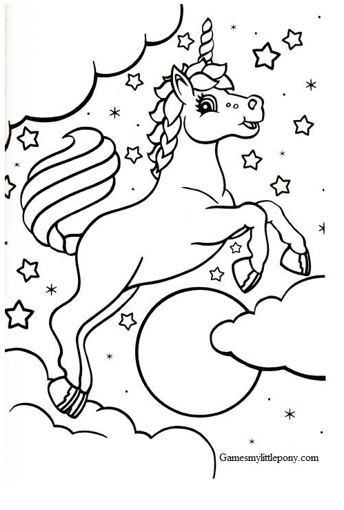 Unicorn Coloring Lovely Coloring Page