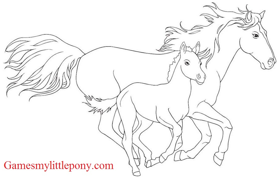 Horse Coloring Racing Coloring Page