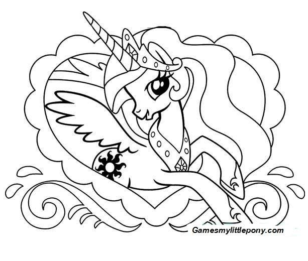My Little Pony Celestia Coloring Coloring Page