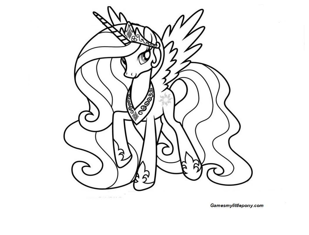 My Little Pony Princess Celestia With Necklace Coloring Page