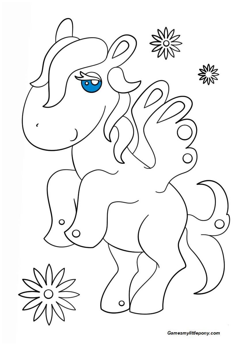 Kawaii Pegasus Coloring Page