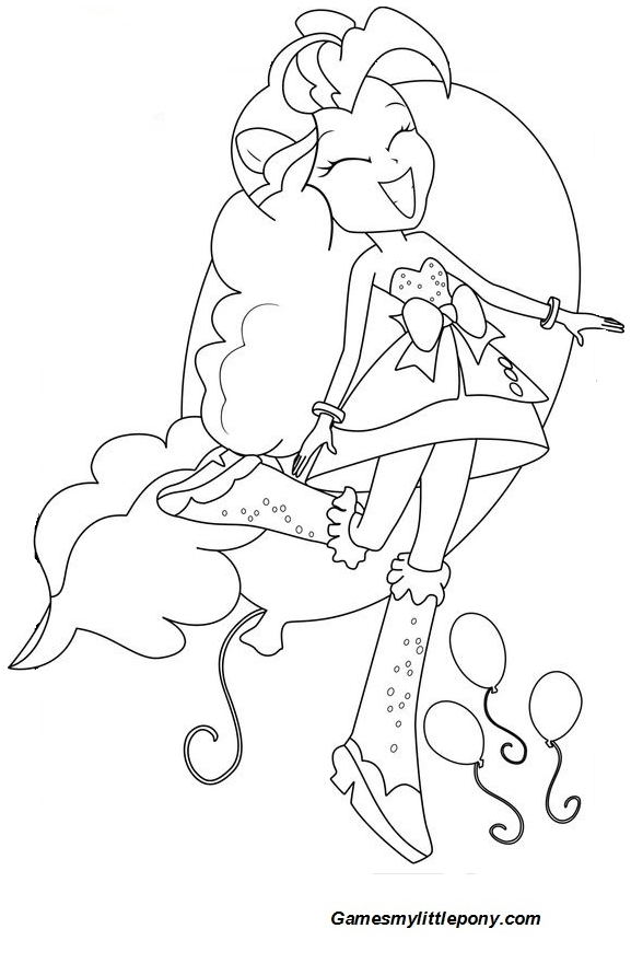 Equestria Girls Pinkie Pie Sing Coloring Page