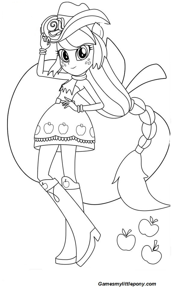 Equestria Girls Apple Jack With Apple Coloring Page
