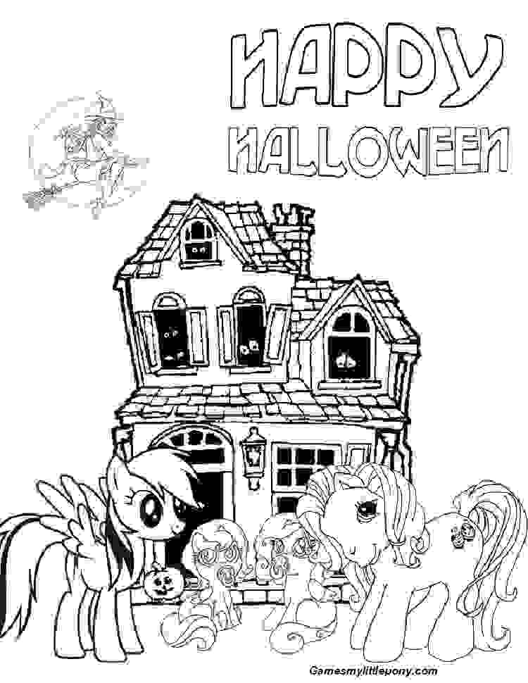 Happy Halloween Pony Coloring Page