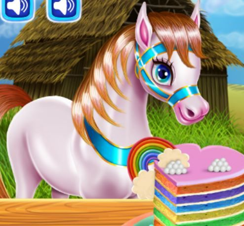 Pony Cooking Rainbow Cake Game