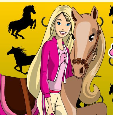 Barbie And Pony Coloring Game