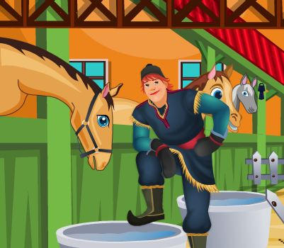 Frozen Kristoff Stable Cleaning Game