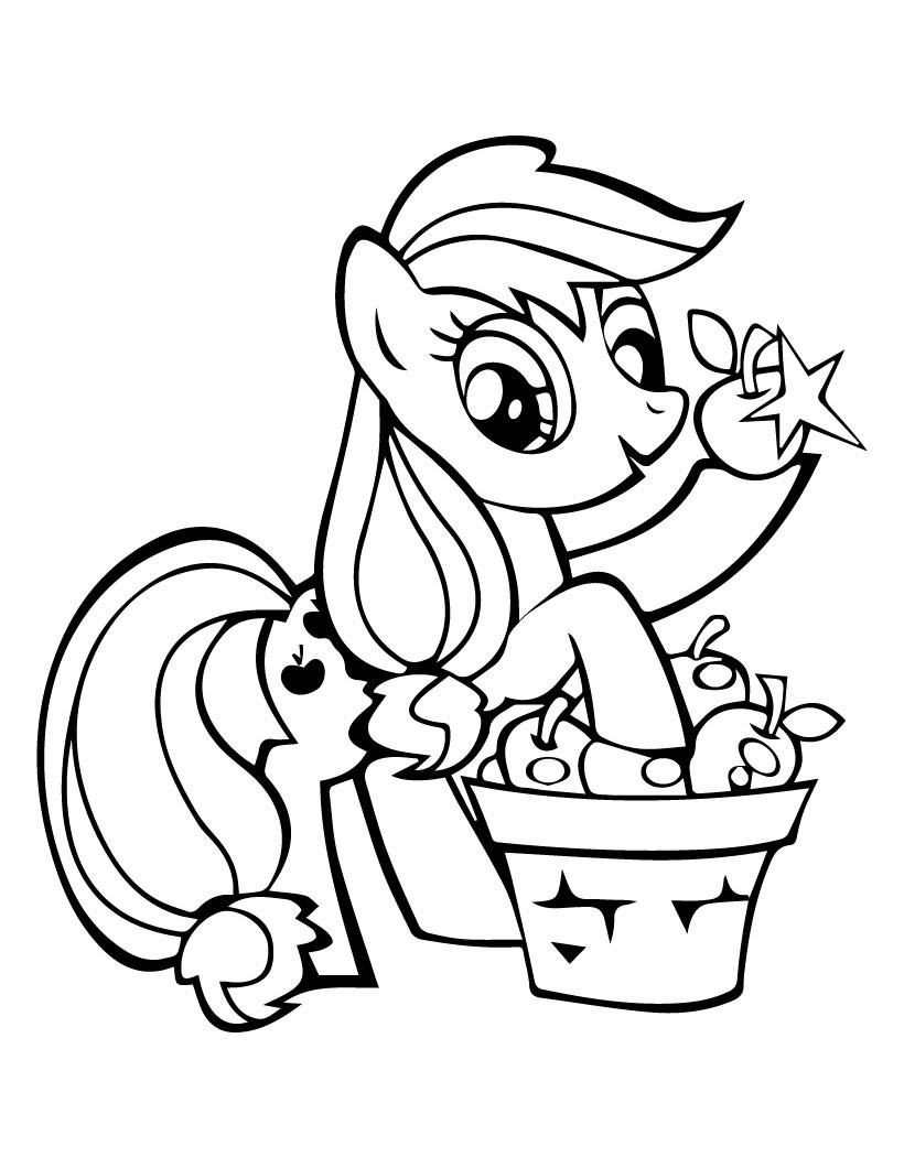 My Little Pony Applejack Pick Apples Coloring Page
