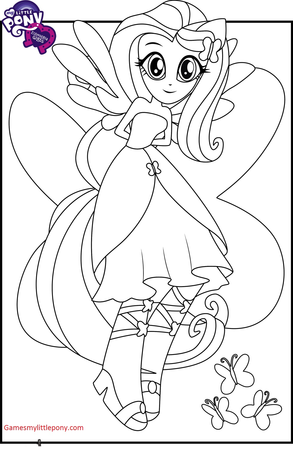Equestria Girls Fluttershy Coloring Page My Little Pony Coloring