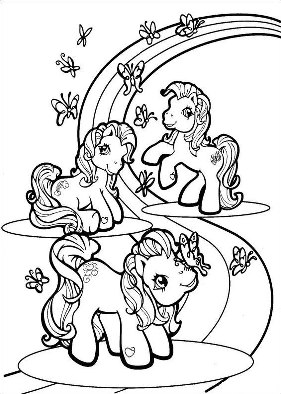 My Little Pony Playing With Butterfly Coloring Page