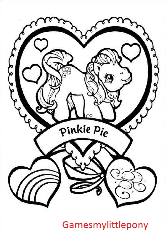 My Little Pony Pinkie Pie And Heart Coloring Page