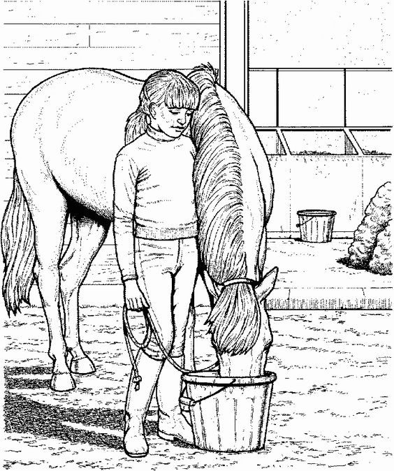My Horse At The Farm Coloring Page