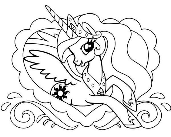My Little Pony Princess Celestia And Heart Coloring Page
