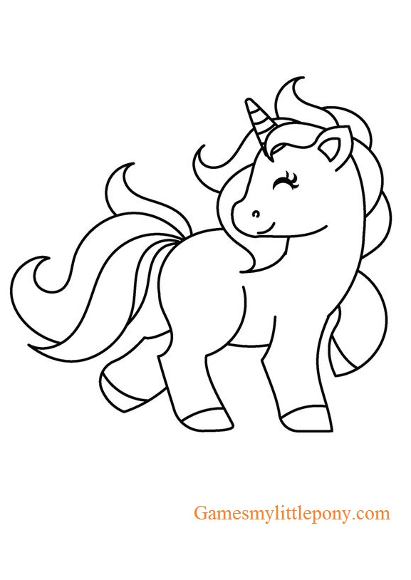 Baby Unicorn Coloring Coloring Page