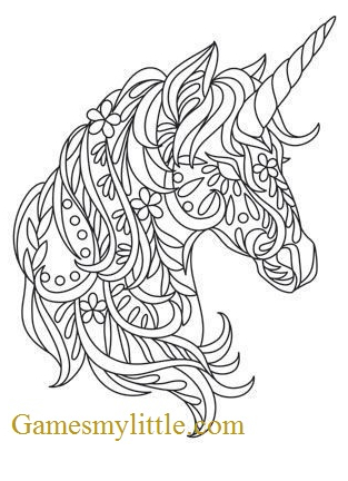 Unicorn Head Coloring Coloring Page