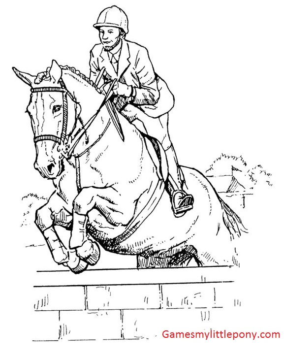 Horse Coloring Riding Coloring Page
