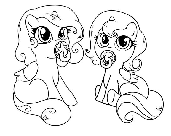 My Little Pony Cute Baby Ponies Coloring Page