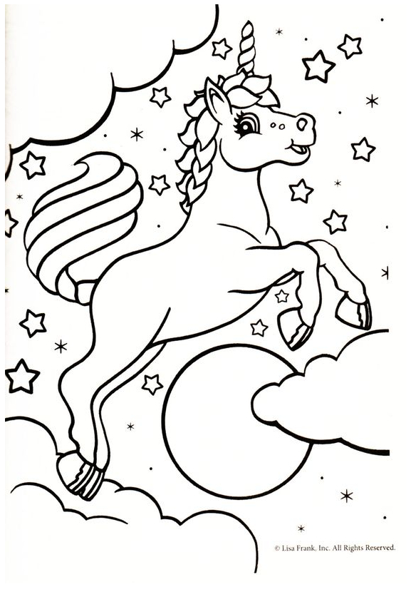 Unicorn And Stars Coloring Page