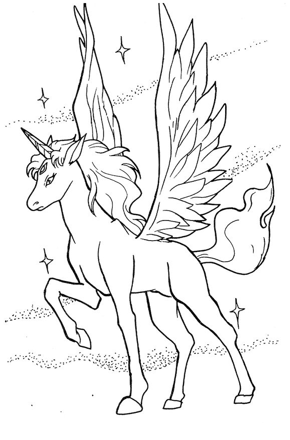 Unicorn Coloring And Wings Coloring Page
