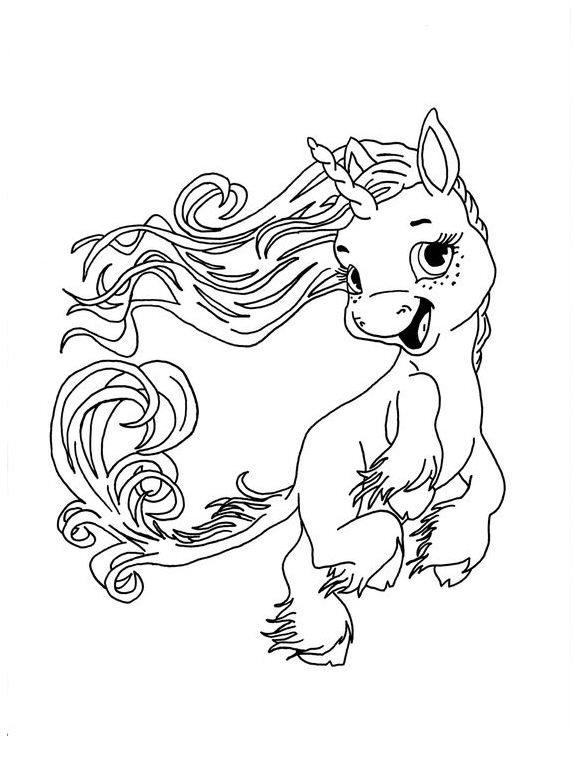 Baby Unicorn And Smile Coloring Page