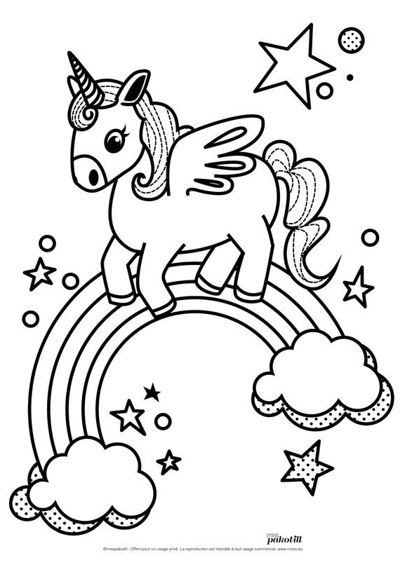 Unicorn Coloring Goes On Moon Coloring Page