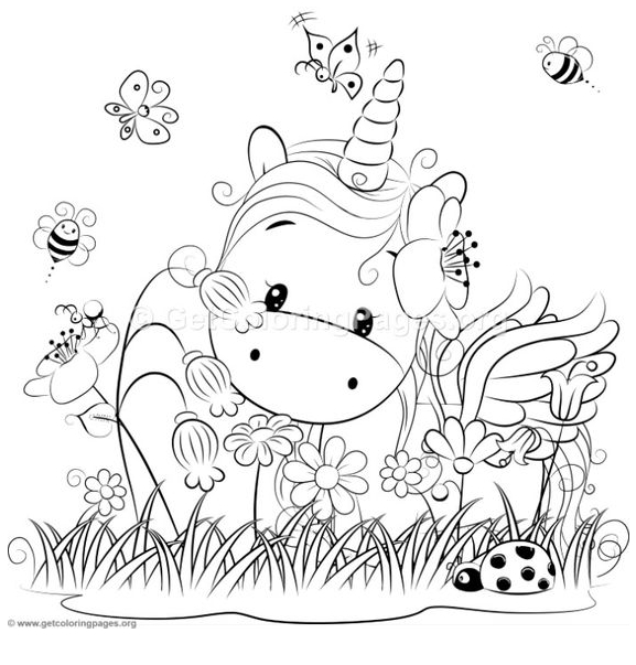 Baby Unicorn And Flower Coloring Page