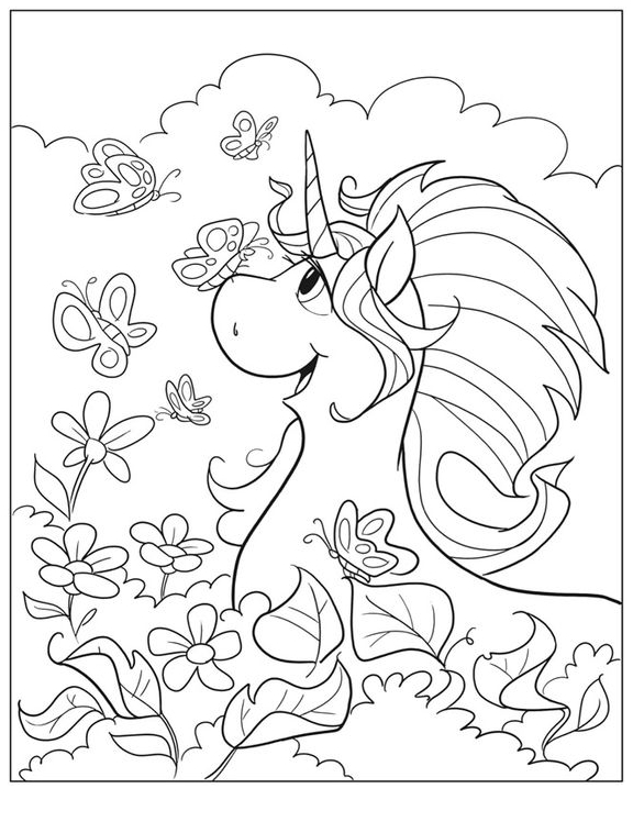 Unicorn Coloring Laughing Coloring Page