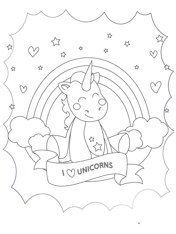I Love Unicorn Coloring Page