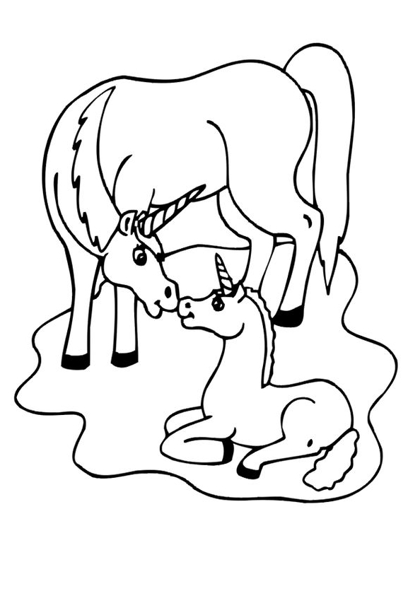 Mom And Baby Unicorn Coloring Page