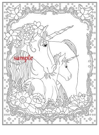 Unicorn Coloring Sample Coloring Page