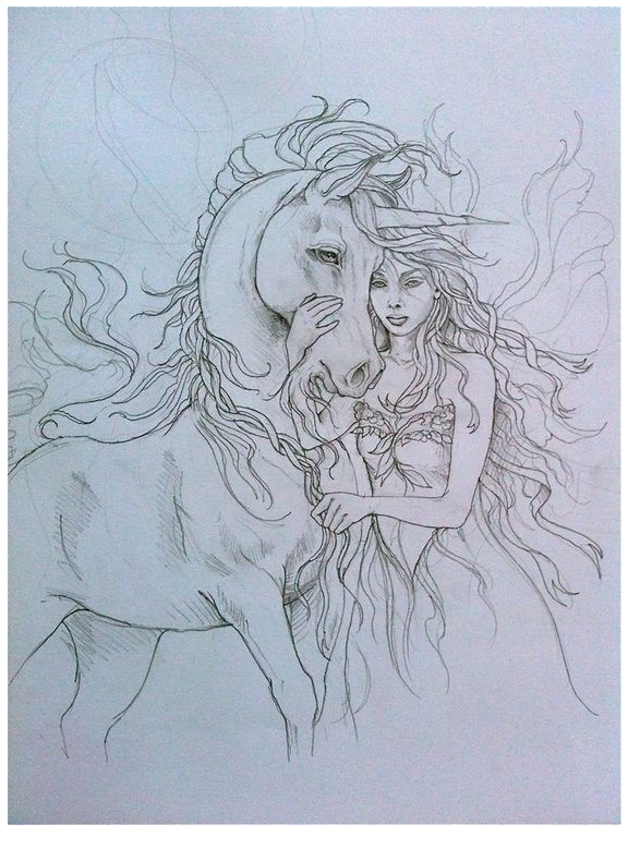 Unicorn Coloring And Beautiful Girl Coloring Page