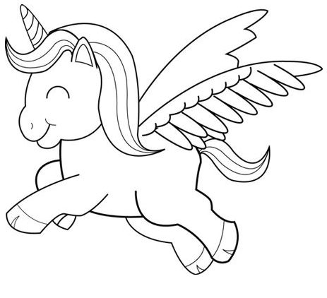 Baby Unicorn Coloring Flying Coloring Page