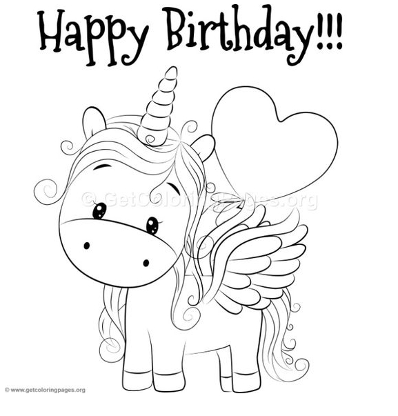 Unicorn Coloring Happy Birthday Coloring Page