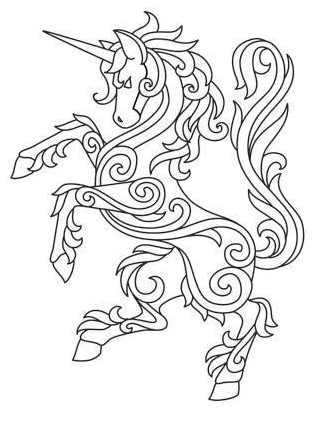 Unicorn Coloring Pages With Design Coloring Page