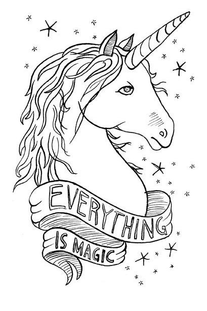 Everything Is Magic Coloring Page - Unicorn Coloring Pages