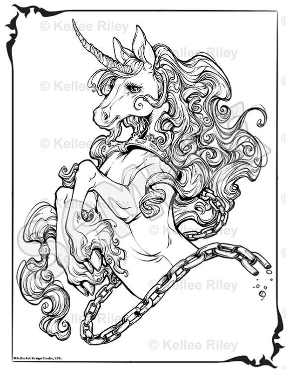 Unicorn Adult Coloring Page Coloring Page