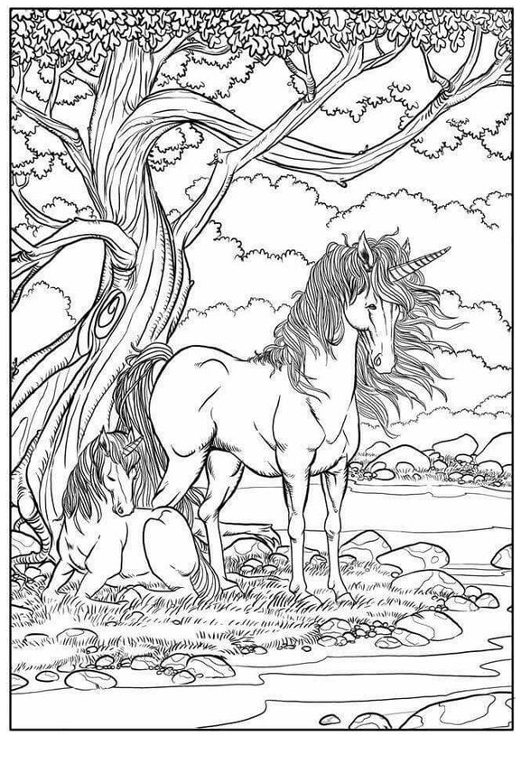 Unicorn Coloring Mom And Baby Coloring Page