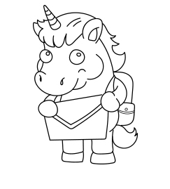 Cute Unicorn Cartoon Coloring Page