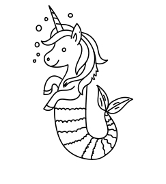 Cute Unicorn Mermaid Coloring Page Coloring Page