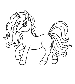 Cute Rainbown Unicorn Coloring Page