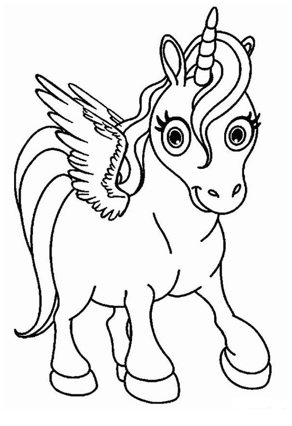 Unicorn Coloring Page With Sentiment Coloring Page