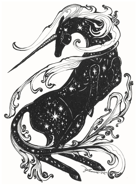 Unicorn Coloring Pages Black And White Coloring Page