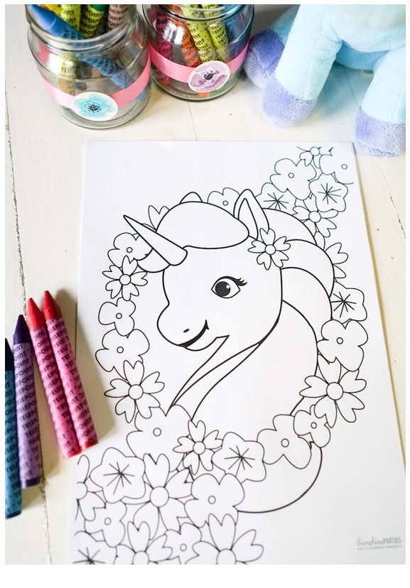 Unicorn Coloring Pastel Birthday Party Coloring Page