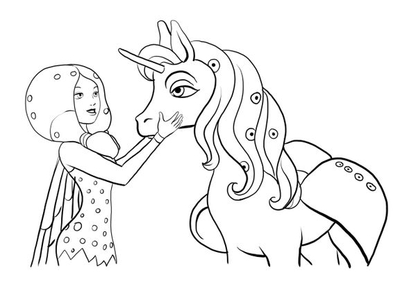 Unicorn And Girl Coloring Page