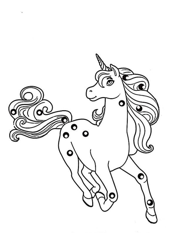 Unicorn Coloring Runs Coloring Page