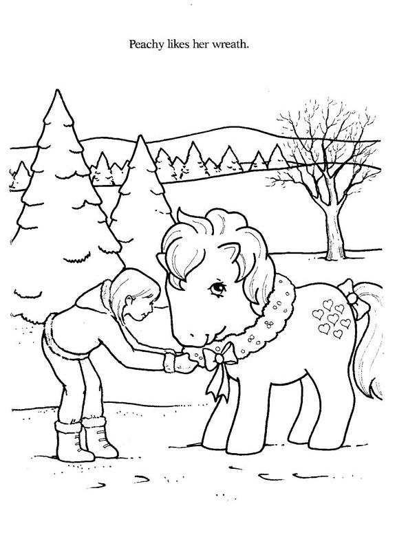 Merry Christmas Coloring With Horse Coloring Page