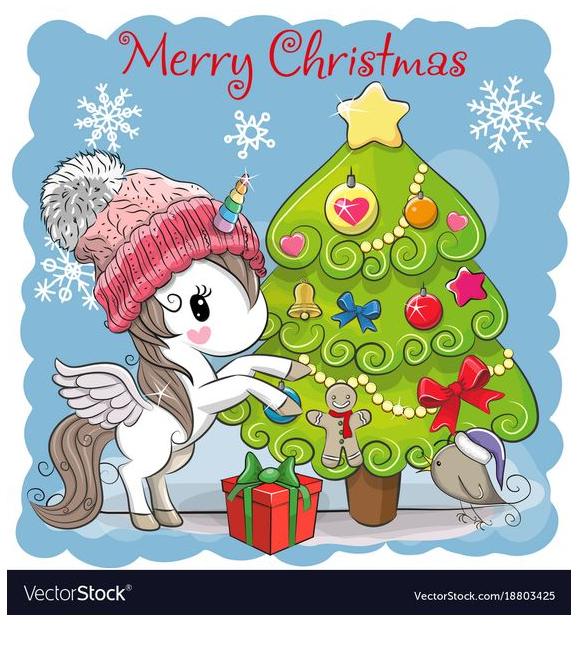 Merry Christmas Unicorn Coloring Page