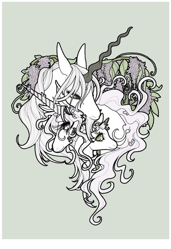 Unicorn Family Picture Coloring Page
