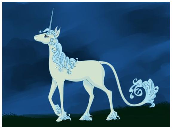 Unicorn With Blue Background